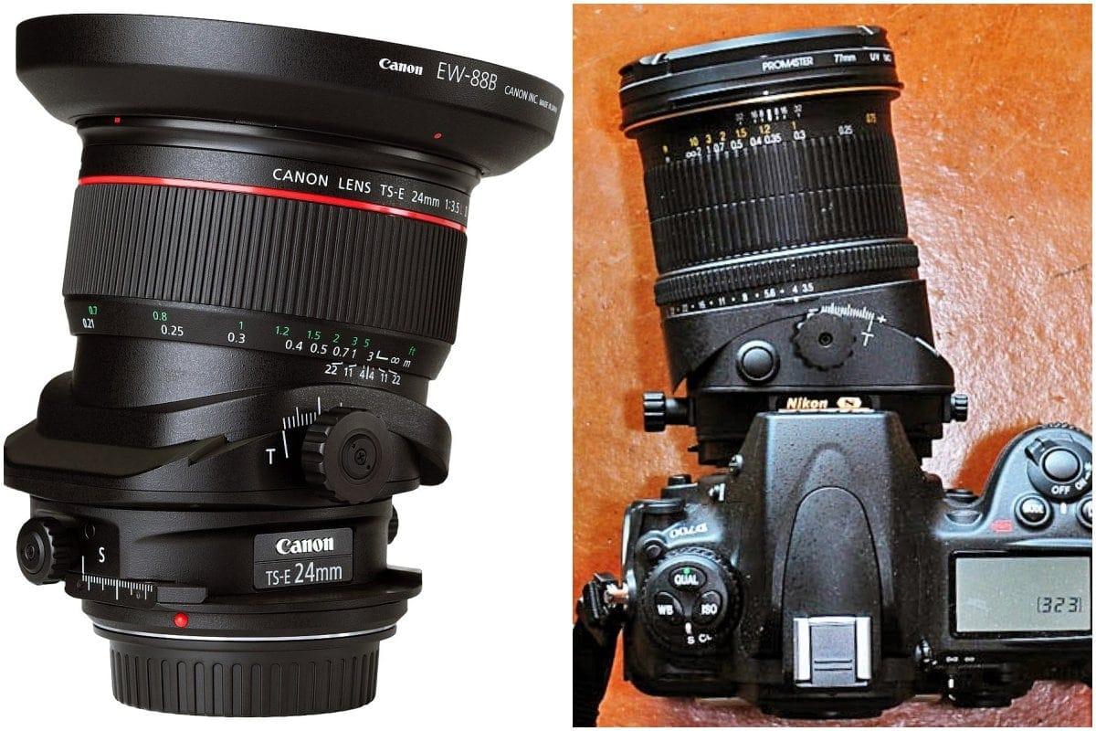 Tilt-shift objektivy Canon 24 mm a Nikkor od Nikon.