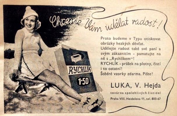 Hezká děvčata – ukázka propagace z dob první republiky.