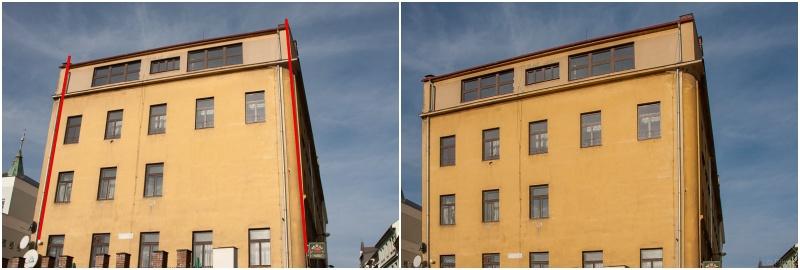 Kácející se kolmice budovy.