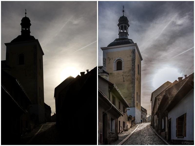 Fotografie před a po úpravě v Adobe Lightroom.