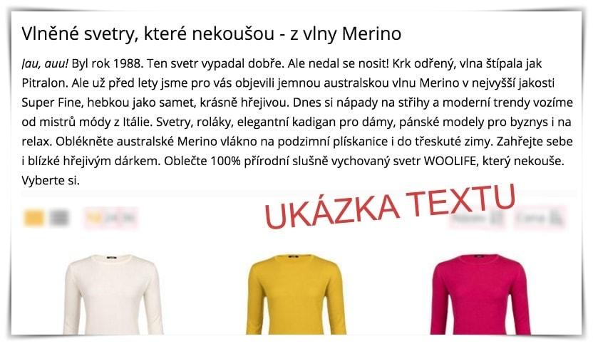 Ukázka texty pro e-shop - copywriting mariankabele.cz
