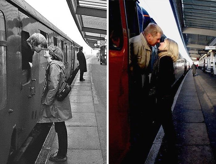 Železniční polibek a fotografie Chrise Porsze s odstupem 30 let