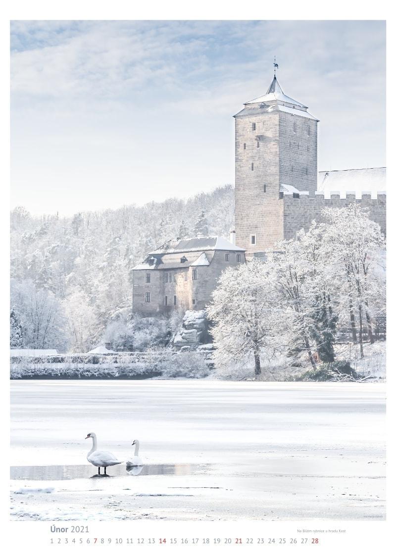 Ukázka velkého foto kalendáře A1 – Kost, únor 2021.