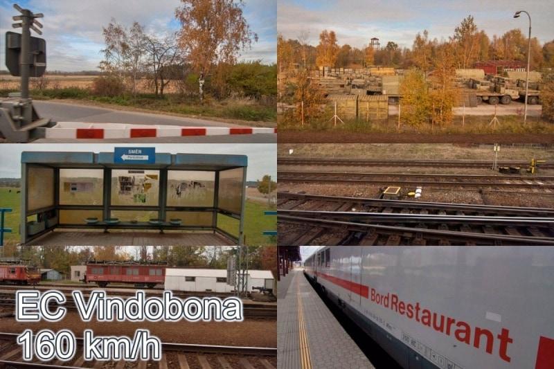 Fotokino: Vindobona – ubíhající krajina 160 km/h zEuroCity vlaku